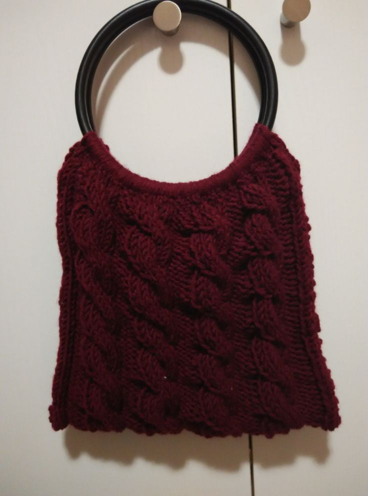 knit cable purse crimson with wooden black handles and liner by yrozaf on Etsy