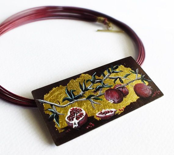 Pomegranate necklace hand painted jewelry by SeasonsDesignJewelry, $78.00