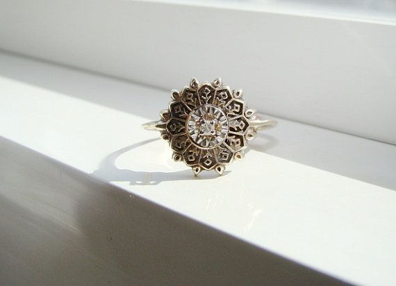 Antique Art Deco Diamond Ring Filigree Flower Engagement Ring Two Toned Art Nouveau Edwardian Victorian 14K Yellow and White Gold size 6.25