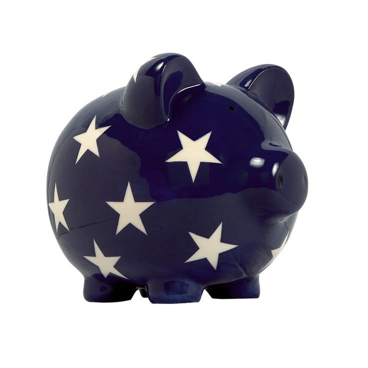 Help your child reach the stars, or at least save in them! This beautiful royal blue piggy bank is accented by white stars all across its ceramic body. Adorable and functional, it makes a wonderful accent piece and unique baby gift no matter the occasion. This Elegant Baby piggy bank is a classic gift with a modern twist that is sure to get lots of use for years to come.