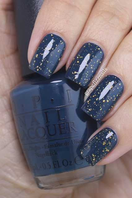 Navy-Teal with Gold Flakie Top Coat