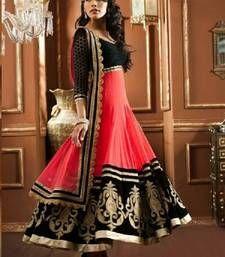 Buy Pink net embroidered semi stitched salwar with dupatta anarkali-salwar-kameez online