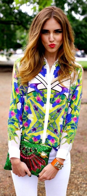 #street #style summer print blouse