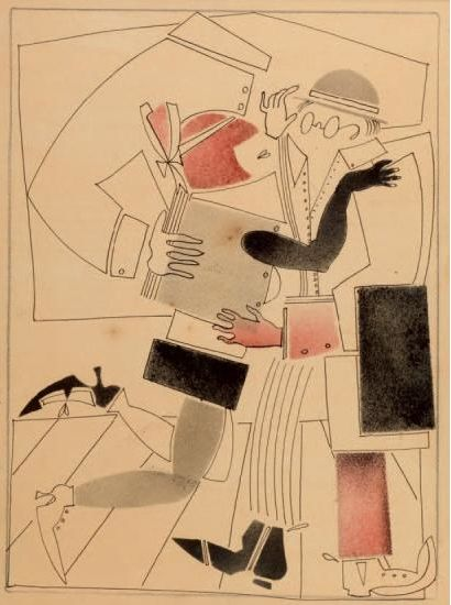 By Vladimir Lebedev (1891-1967), c. 1925, Cubist Composition, Paris.