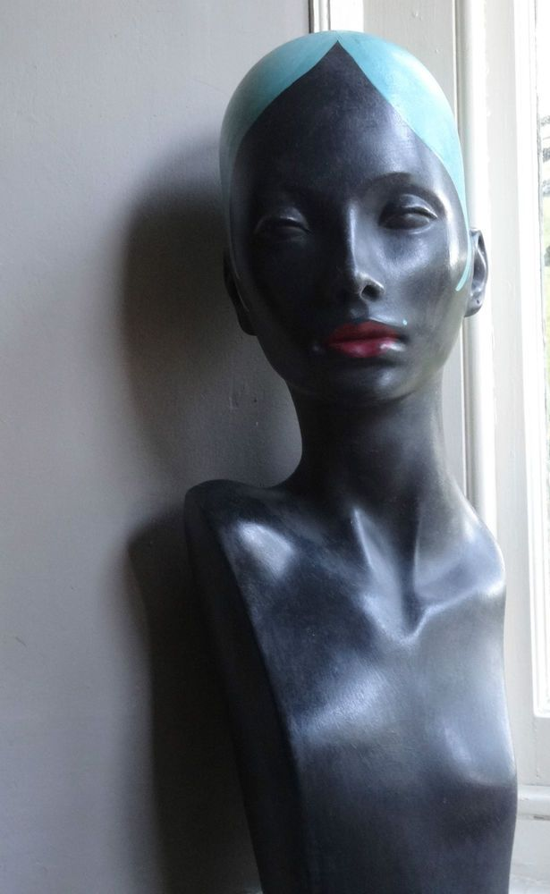 mannequin bust head shop jewellery millinery display hand painted vintage style