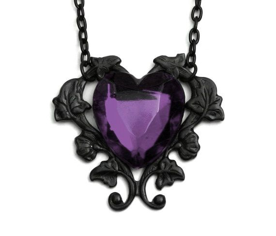 Victorian Gothic Purple Heart Necklace by robinhoodcouture on Etsy, $28.00