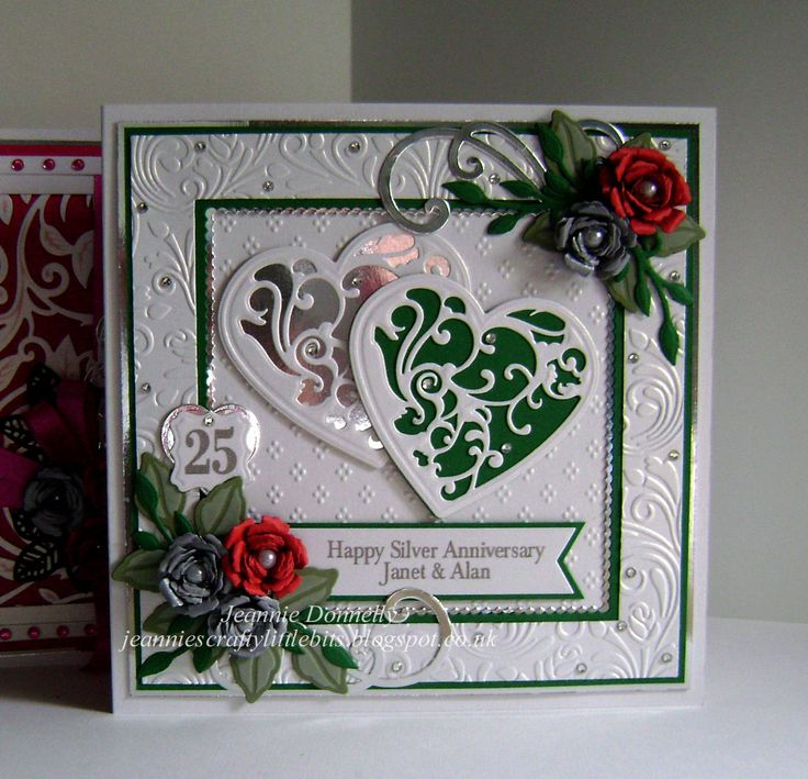 25th Silver Anniversary Card - used this same layout again for an anniversary card this time - Using Dies from Spellbinders - Grand Squares, Vines of Passion (love this name for a heart), Bitty Blossoms, Labels Sixteen, Leaf from Botanical Swirls and Accents and Foliage, Tonic Studios - Scalloped Squares, DieNamics - FishTail Banners, A Nellie Snellen Heart and Crafts Too - Flourish. Embossing folders used are Crafters Companion - A4 Rose Swirls and Spellbinders A4 M-B'abilities Dainty Dots.