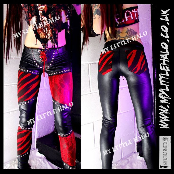 Glam rock leggings-red zebra print & lace by My Little Halo #mylittlehalo | Gothic clothes ( no ...
