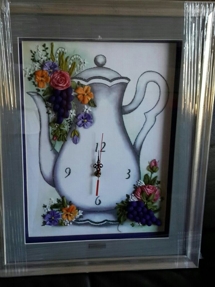 Ribbon embroidery coffee pot clock