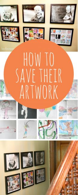A great idea for saving and display your child's artwork in a more meaningful way