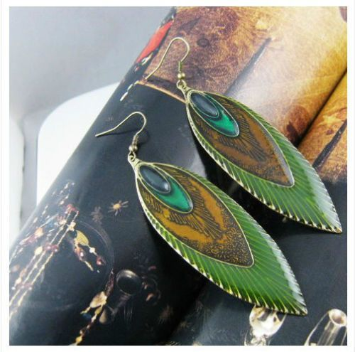 E1081-Unique-Retro-Vintage-Glaze-Peacock-Feathers-Earrings