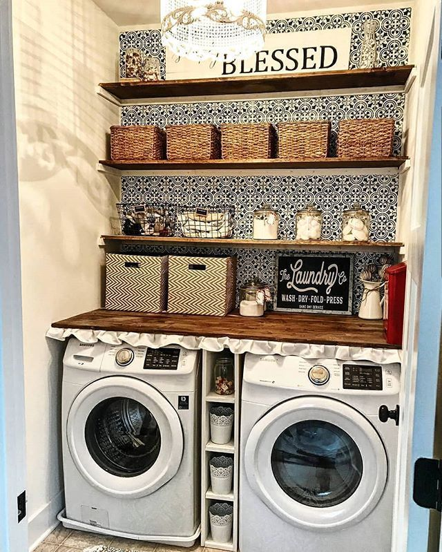 Black And White Feature Wall Stenciled Laundry Room Feature Wall Using Tile Stencils Diy Des Laundry Room Decor Laundry Room Design Patchwork Tiles Kitchen
