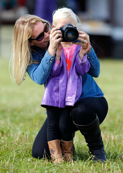 Autumn Phillips and Peter Phillips with Savannah Phillips and Isla Phillips attend the Whatley Manor International Horse Trials at Gatco...