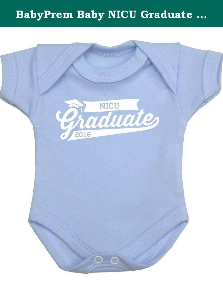 BabyPrem Baby NICU Graduate Bodysuit Vest Preemie Clothes 3.5-10lb BLUE P3. This is a coloured premature baby bodysuit with a white motif 'NICU Graduate 2015' printed on it. Fastens with snaps at the bottom to make dressing your baby easier. It is a quality garment made from 100% Cotton, machine washable at 40 degrees and manufactured in our own factory in the UK. All orders received before 12pm Mon to Fri are despatched the same day (except Bank Holidays). Available in sizes Prem 2...