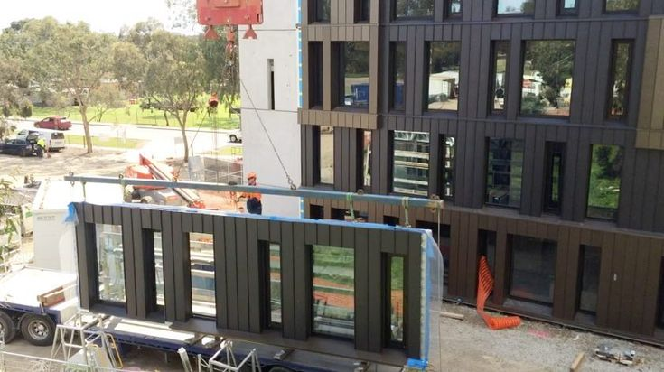 JOB: Offsite installation (cladding & windows) to light weight steel frames transported to site and installed LOCATION: RMIT University West Student Accommodation Bundoora VIC @rmituniversity ARCHITECT: @richardmiddletonarchitects BUILDER: Built. MATERIAL: elZinc Black | Ebano in angle standing seam (approx. 25tons) powder coated metallic bronze aluminium in V25 system (approx. 13tons) MATERIAL SUPPLIER: @elzincaustralia for Zinc | @craftmetals for Aluminium INSTALLER: ARC ... #buildsitbest…