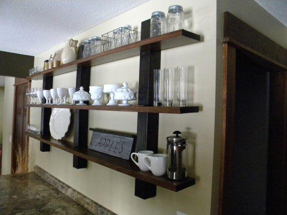 Open Shelving, Decorative Shelves, Wall Decor, Kitchen Organization, Home Decor, Modern Rustic, Wood Shelf, Floating Shelf, Wall Shelf