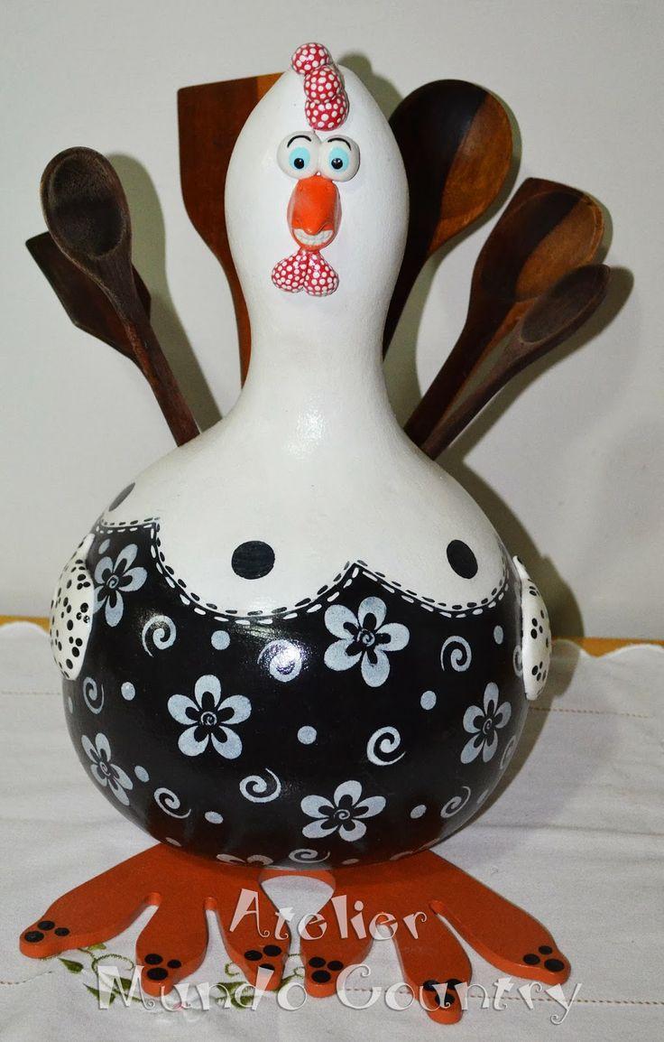Tays Rocha: Arte em cabaça - Galinha porta-colher #artesanato #crafts #gourds…