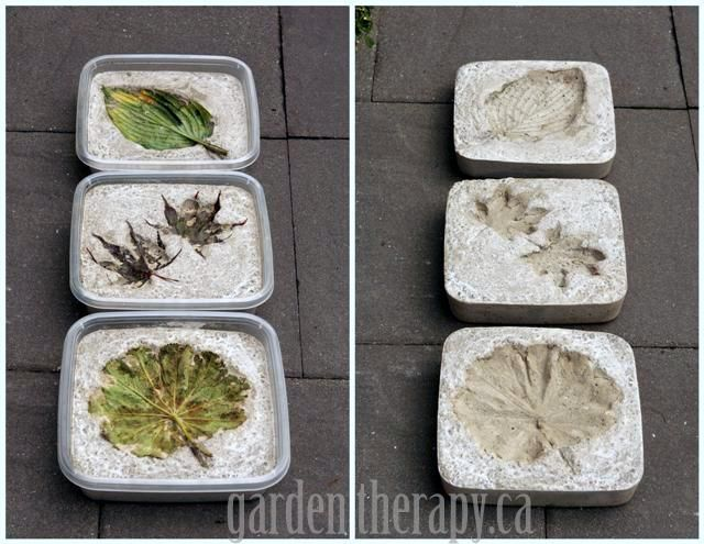 Leaf Imprint Concrete Stepping Stones-- how-tos from Garden Therapy.