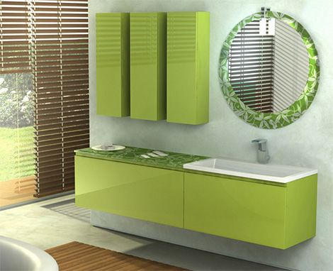 Modern minimalist bathroom decor with a charming green furniture from Italy. Modern minimalist bathroom furniture comes with an interesting shape, simple and elegant colors. A rack cabinet wall with a simple form neatly displayed beside a circular mirror with bamboo leaf pattern illustrated an interesting thread.