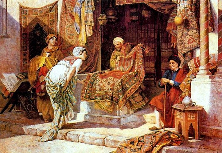 At the Bazar , The carpet merchant , Cairo Francesco Ballesio (Italian Painter , 1860-1923)