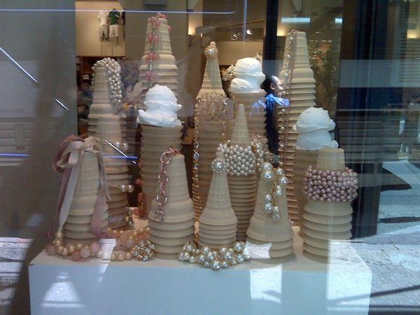 Ice cream cones & pearls- The Art of Window Displays (15 Creative Examples) - My Modern Metropolis