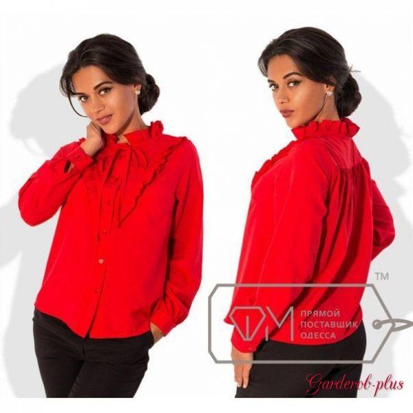 Красная рубашка с оборками и завязкой у шеи «Рюши воротник» №7282