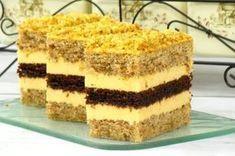Prăjitură cu blat de nuci, blat de cacao si cremă de lămaie. Foarte aspectuoasă, delicioasă si aromată