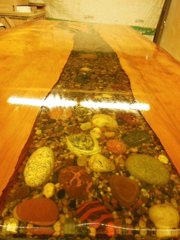 Ancient Kouri Wood Table With Natural Lake Superior Rocks