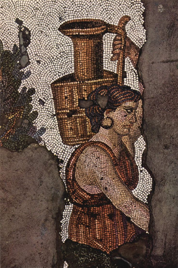 Floor mosaic of a woman carrying a pot ,Byzantine, Constantinople, (c. 5th century).