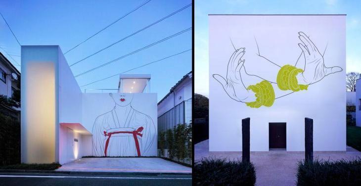 2 examples house facades tweaked art