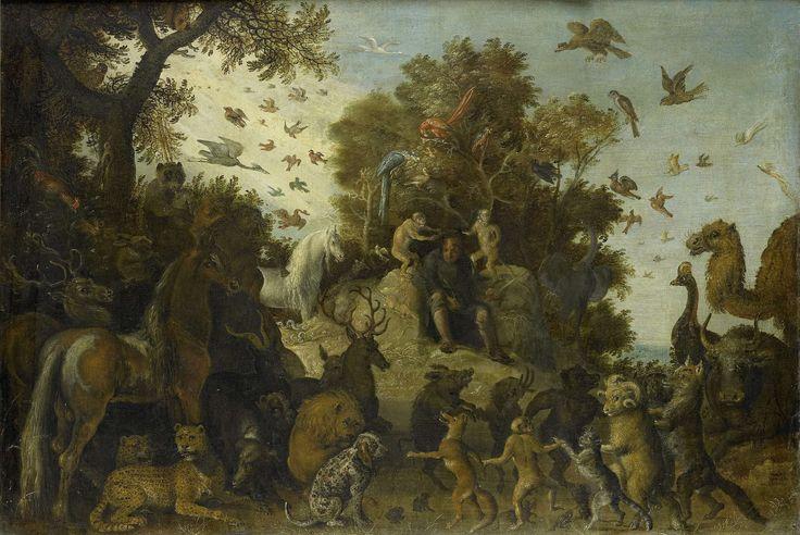 De dichter op het feest der dieren gekroond door twee apen, atelier van Roelant Savery, 1623