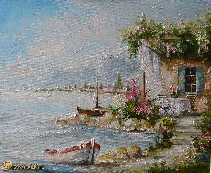 Лодка на берегу - Средиземноморские пейзажи - Галерея - Картины для интерьера