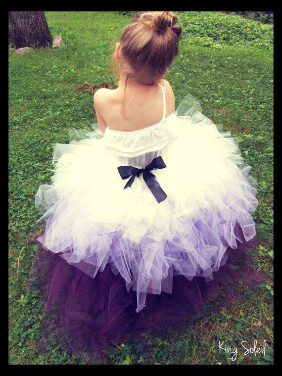 Flower Girl Tutu Skirt Ombre Purple Lavender Ivory by KingSoleil, $140.00
