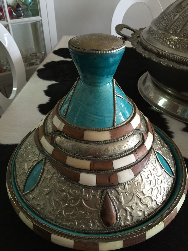 Decorated turquoise Moroccan tagine