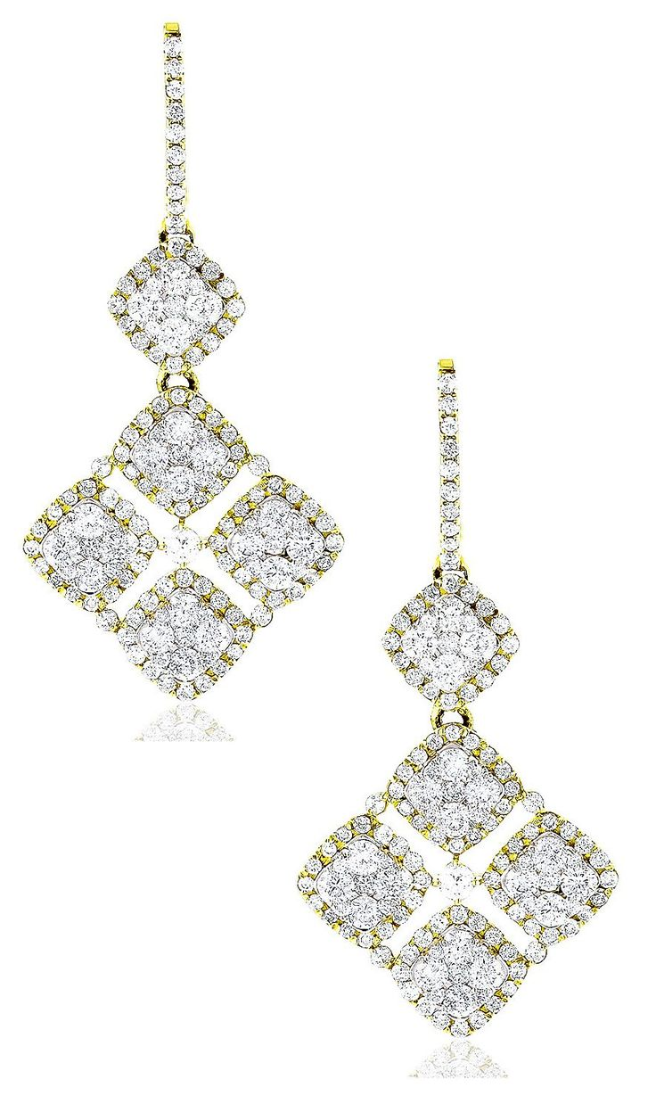 These Designer Diamond Floral Earrings in 14K gold showcase 4.29 carats of genuine diamonds. Featuring an intricate dangle design and a highly polished gold finish, these fabulous diamond floral earrings are available in 14K white, yellow, rose gold and can be customized with any color and quality diamonds.
