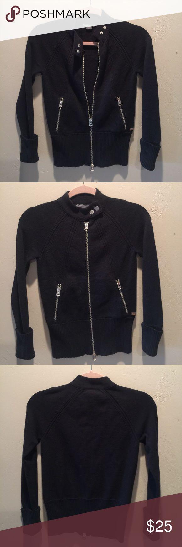 "Armani Exchange Moto Cardigan Black XS NWOT Armani Cardigan in Moto style w/ Armani embellished buttons & zipper pulls. 13""L from underarm. Size XS 0/2 Armani Exchange Sweaters Cardigans"