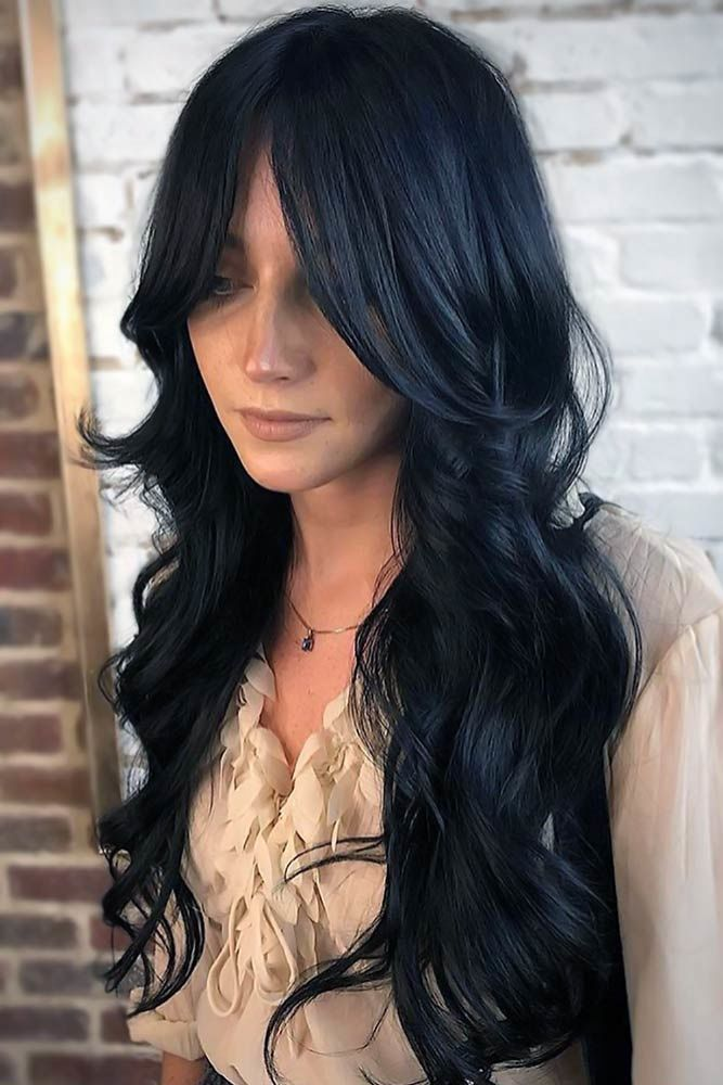 55 Tasteful Blue Black Hair Color Ideas To Try In Any Season Layered Hair With Bangs Hair Color For Black Hair Long Layered Hair