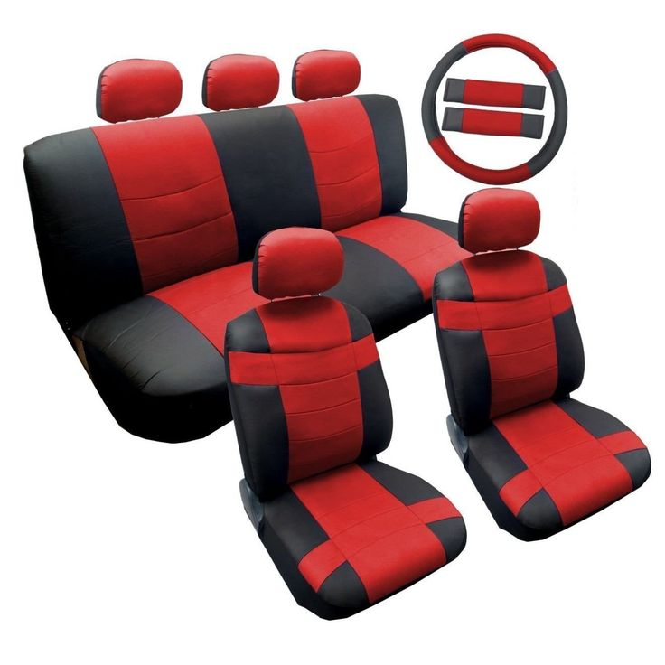 Unique Two Tone Black/Red Synthetic Leather Seat Cover Set 14pc Honda Civic (Color)