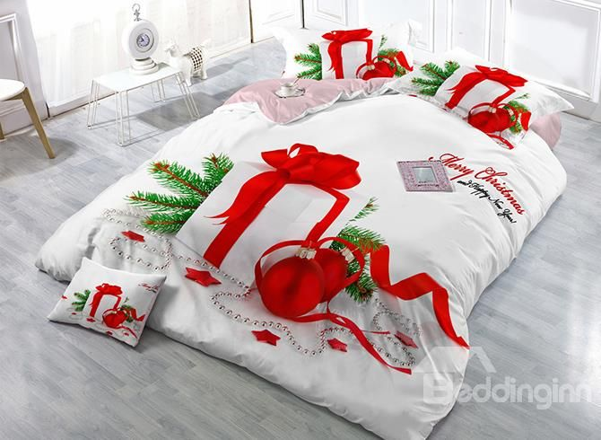 Christmas Gift Print Satin Drill 4 Piece White Duvet Cover Sets