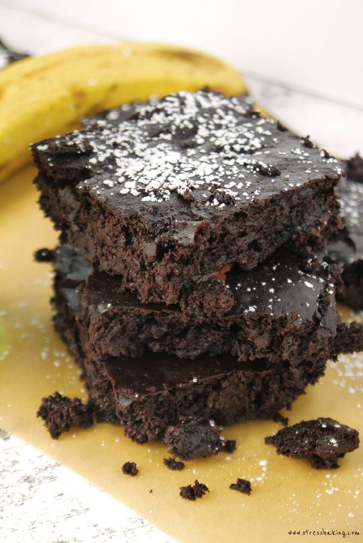 Fudgy Chocolate Banana Brownies: Super fudgy chocolate brownies that you could easily eat for breakfast! This dairy-free, gluten-free and vegan treat will satisfy any chocolate craving.