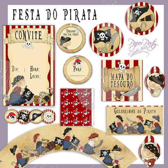 KIT PRONTO Festa do Pirata 14 PRODUTOS / 340 UNIDADES + BRINDE:  140 CONFETES PARA ENFEITAR SUA MESA!  Festa para 20 convidados