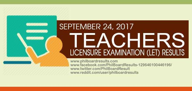 PRC released the complete list of examinees who successfully passed the September 2017 Licensure Examination for Teachers (LET) – Secondary Level.