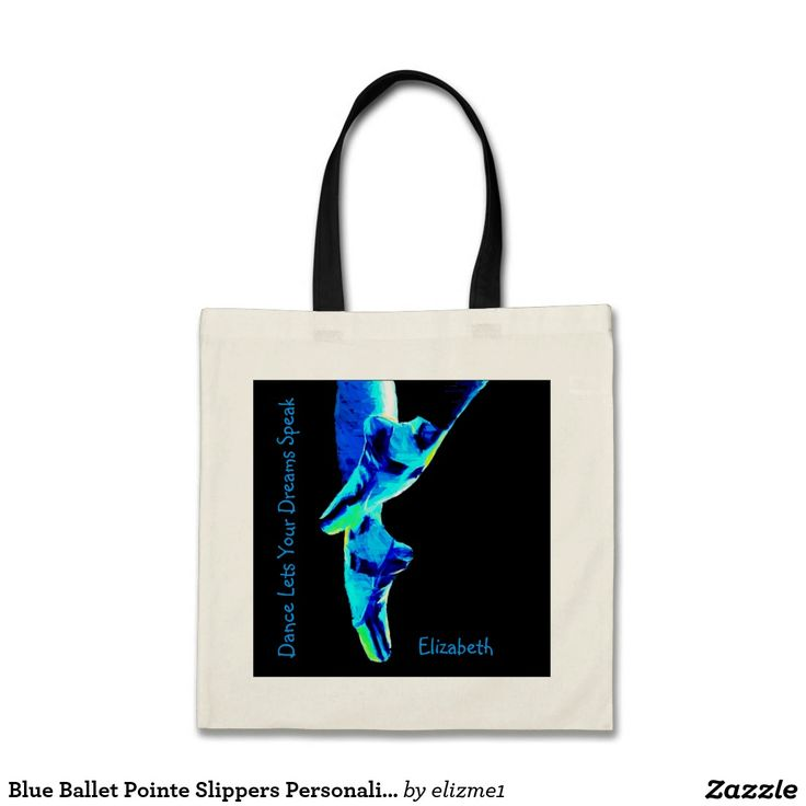 Blue Ballet Pointe Slippers Personalized Tote A great dance gift for a ballet teacher or a dancer.