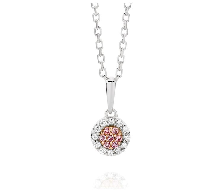 0.10ct TDW Natural Pink & White Diamond Cluster Pendant on Cable Chain Adjustable to 47cm, Pendants, SJ2847