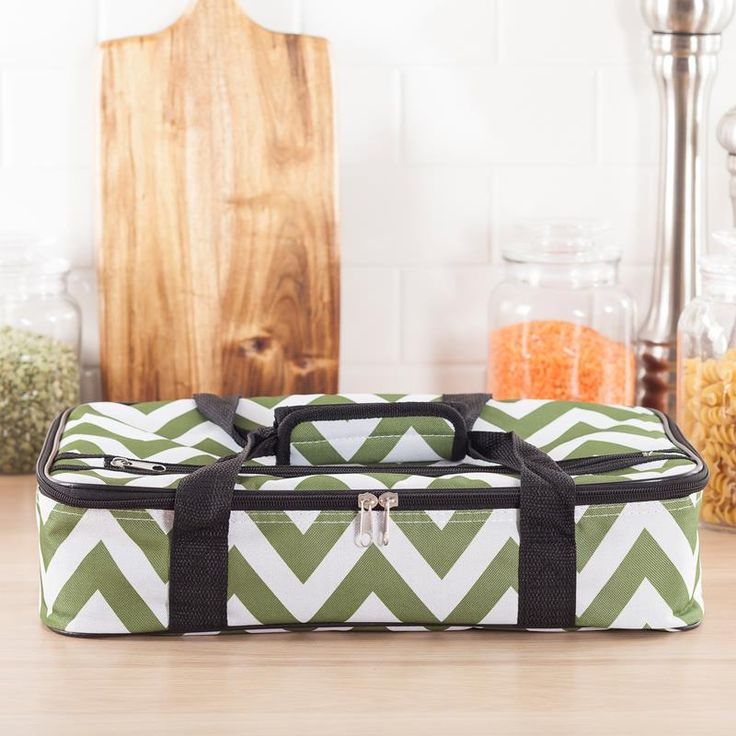 Take your food on the go with this insulated food storage tote. Great for picnics or bringing your world famous dish to a party or BBQ. The insulated lining keeps hot food hot or cold food cold.