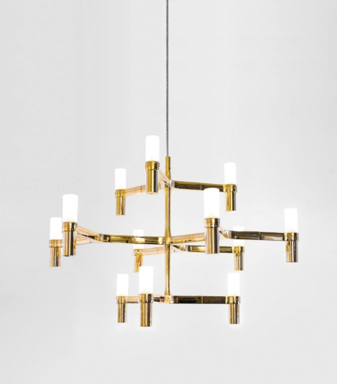 Go for the gold: Nemo Crown Minor 12 Light Satin Gold Chandelier with Glass…