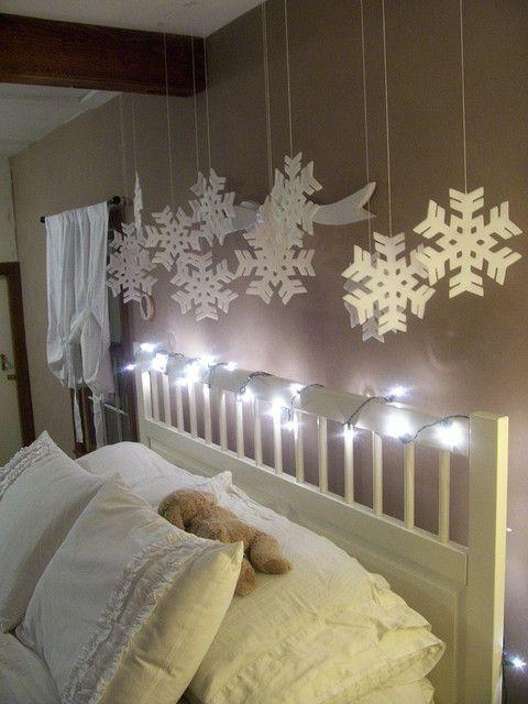 Hang a winter wonderland over kids' beds at Christmas time.