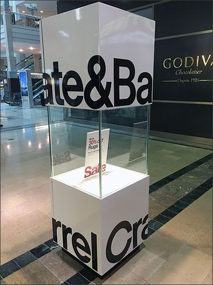 Patterned after a Box Kite, this vertical yet modern cubist Mall Concorse Display for Crate & Barrel branded, yet left room for Sale announcements front and center. You know the retailer is wel...