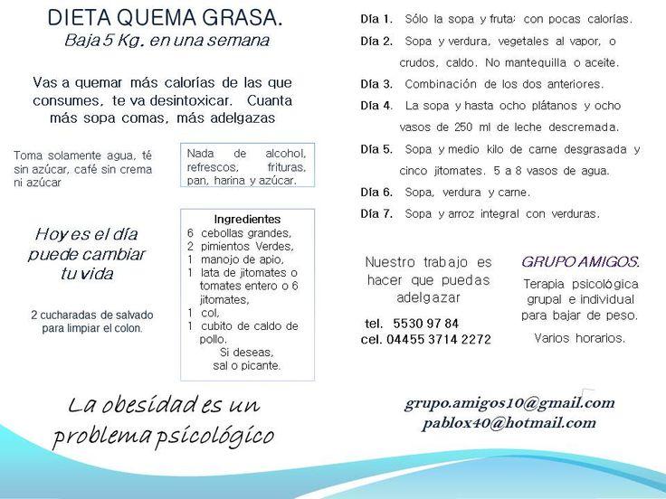 DIETA DE LA SOPA - QUEMA GRASA  BAJA DE PESO 5 KG. EN UNA SEMANA  Mayores informes 55309784 - México, D.F. - grupo.amigos10@gmail.com - pablox40@hotmail.com visita nuestra página http://www.porquenopuedobajardepeso.com.mx//