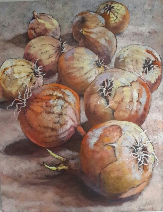 Onions - Oil on canvas by Christine Joubert